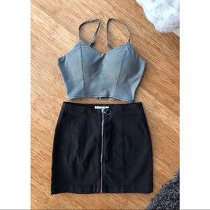 NWOT Black Zip Up Jean Skirt